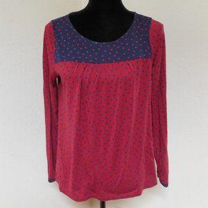 Boden Red and Blue polka dot Longsleeve shirt 10
